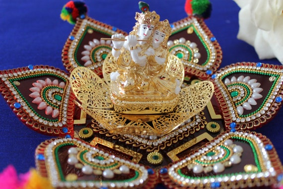 Radha Krishna Idol In White And Gold Sitting On Metal Flower Etsy