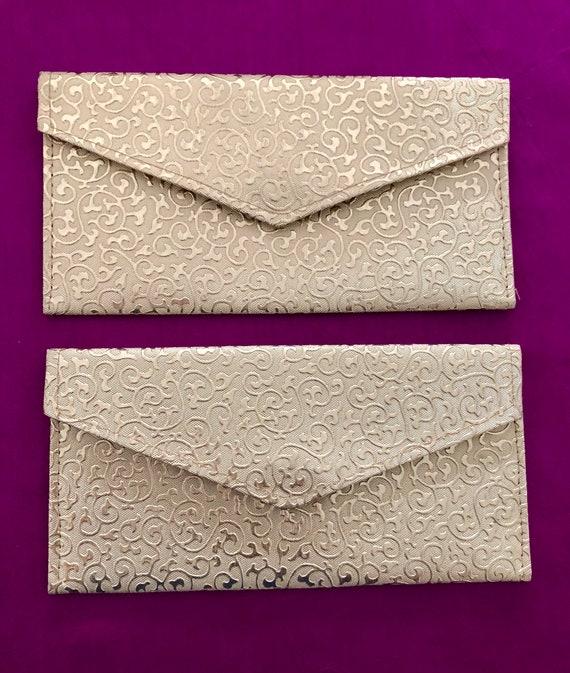 Silk Cash Gold Envelope Shagun Salami Wedding EID Money Gift Envelope