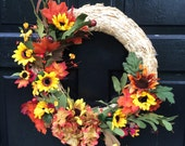 14 in straw wreath with fall flowers, fall wreath, Thanksgiving wreath, Thanksgiving Fall decor, fall decor,Thanksgiving decor