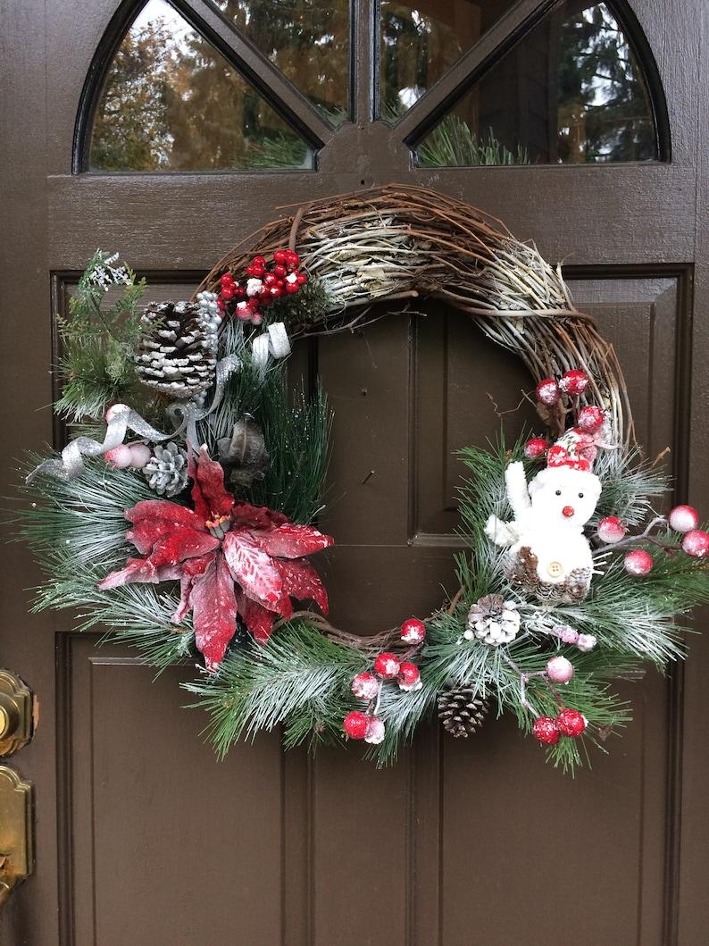 Snowman wreath Christmas snowman wreath,snowman Christmas wreath,front door wreath wreath Winter wreath whimsical snowman