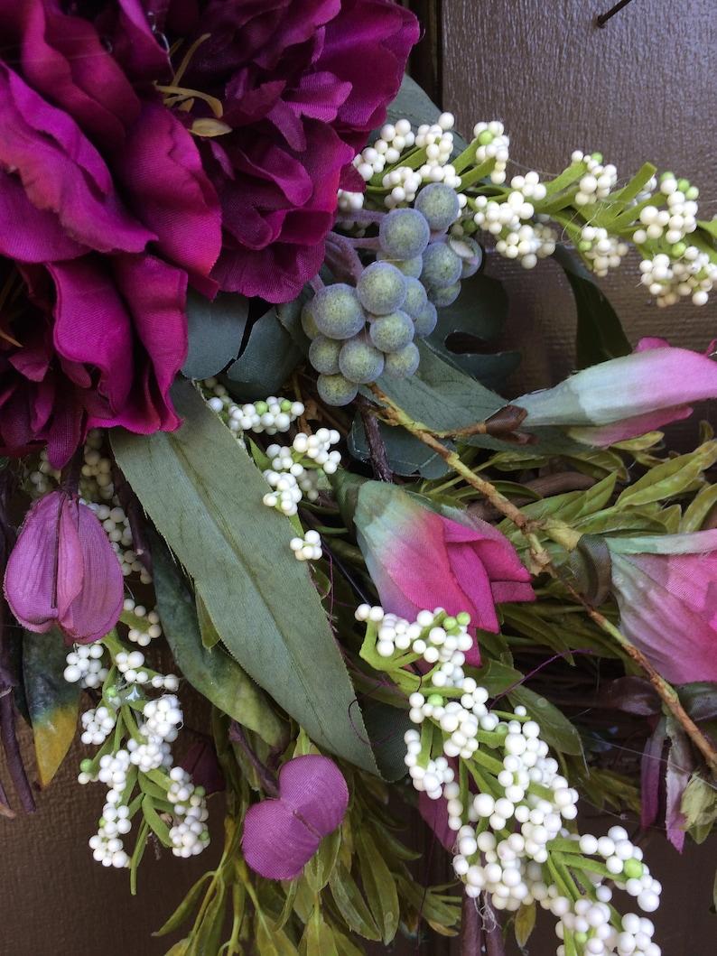 door decor NEW Summer Wreath purple wreath Grapevine purple wreath door wreath gift for her SKU 300 grapevine,wall decor