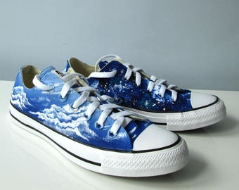 Custom handpainted Day&Night shoes, galaxy Converse, galaxy Vans, blue sky Converse, Day and Night, Galaxy shoes