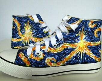 Custom handpainted shoes, Exploding Van Gogh, custom shoes, custom snekers, personalized shoes