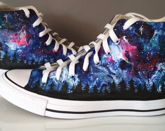 Custom Northern Lights shoes, Aurora Borealis Sneakers, Northern Lights Converse, treeline converse, celestial shoes
