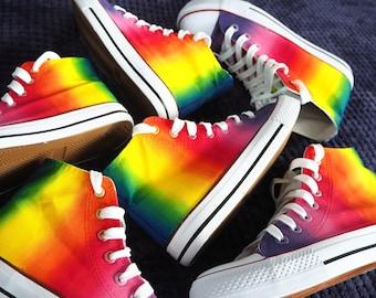 Custom Rainbow Shoes, Gay Pride Shoes, Handpainted Rainbow Sneakers, Rainbow High Top Shoes,