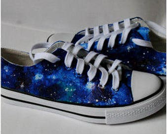 Custom handpainted galaxy sneakers, personalized shoes, galaxy converse, galaxy vans, low top galaxy