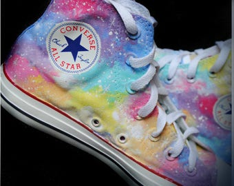 Custom handpainted pastel galaxy shoes, rainbow galaxy shoes, galaxy converse, galaxy vans, pastel shoes, pastel rainbow
