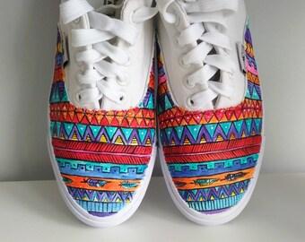 ebdaf810d3 Custom handpainted Aztec pattern shoes