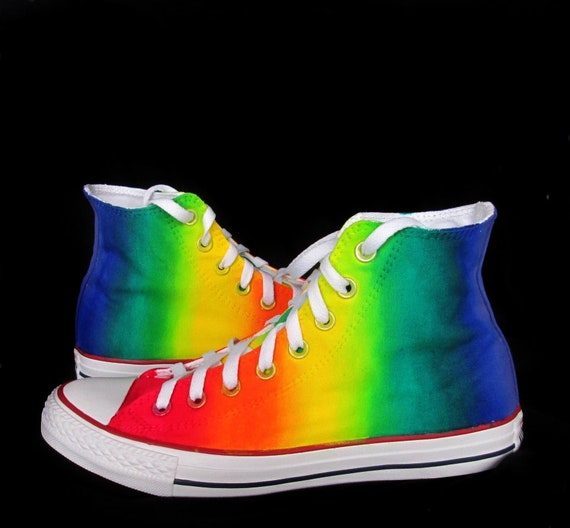 Custom handpainted rainbow shoes, rainbow converse, rainbow vans, rainbow sneakers