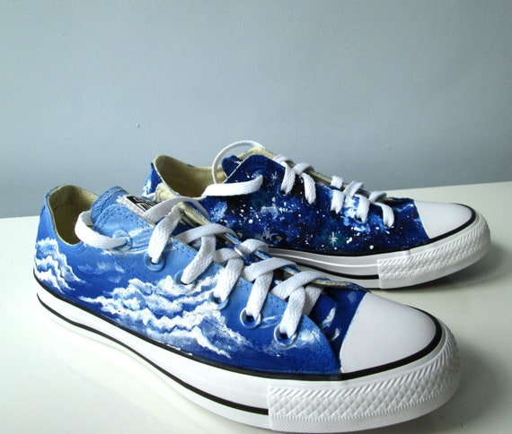 Custom handpainted Day and Night shoes galaxy Converse blue  6a5b84599d3