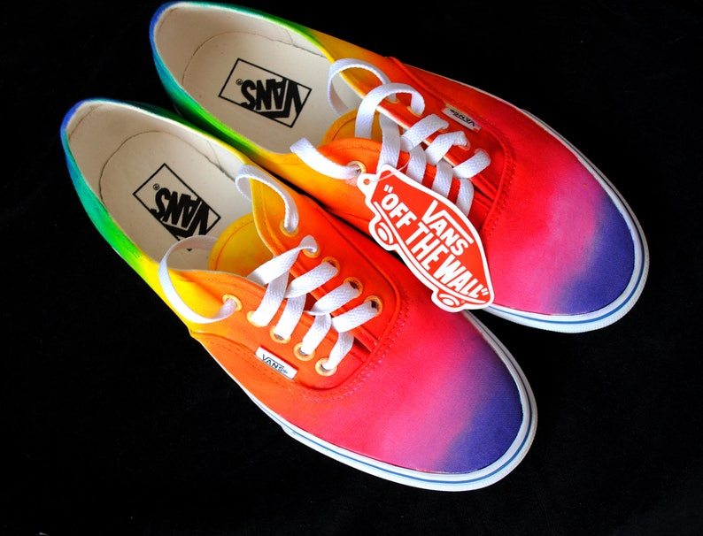 14e8df346a4 Custom handpainted rainbow VANS rainbow vans custom VANS