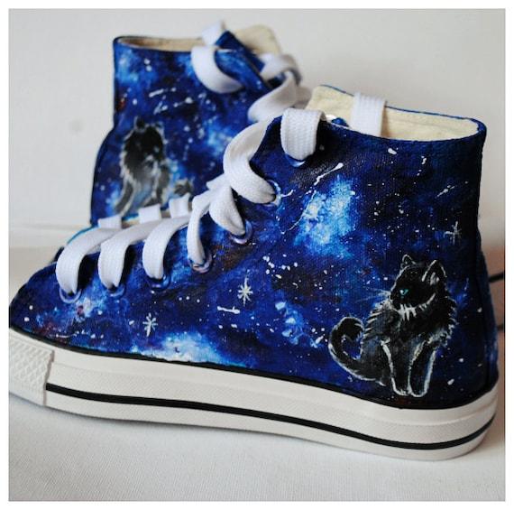 Galaxy cat shoes custom galaxy cat black cat shoes  c4402be4ed5