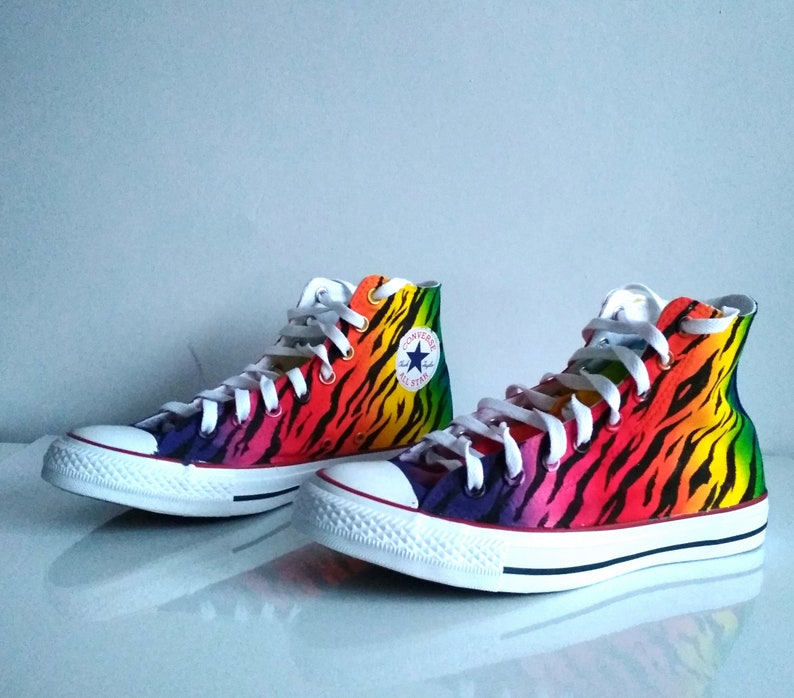 3c6956616f Custom rainbow tiger shoes rainbow converse animal print