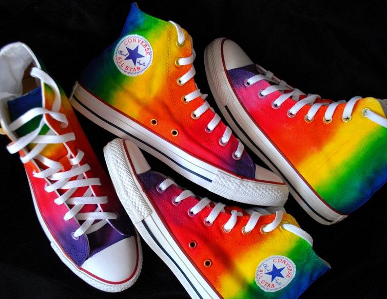 Custom handpainted rainbow shoes rainbow Converse Pride Converse hi-tops