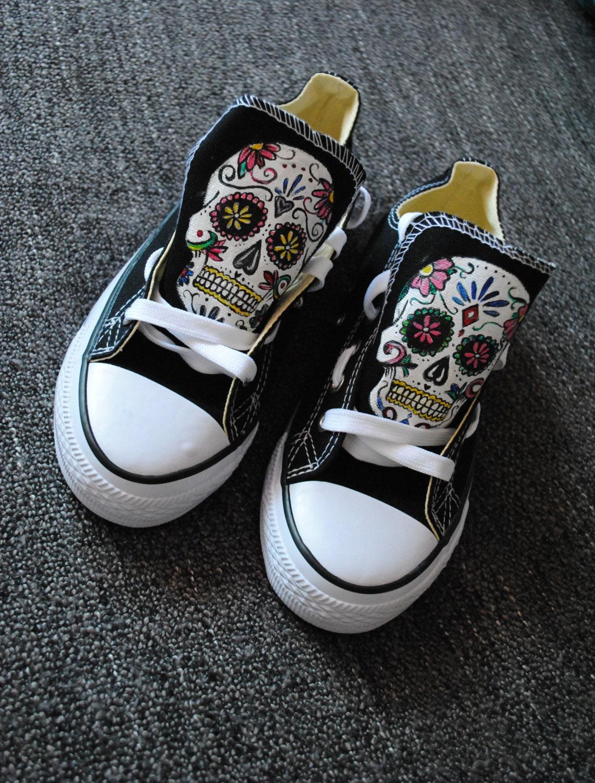 03618910a976 Custom Sugar Skull shoes handpainted skull sneakers Santa