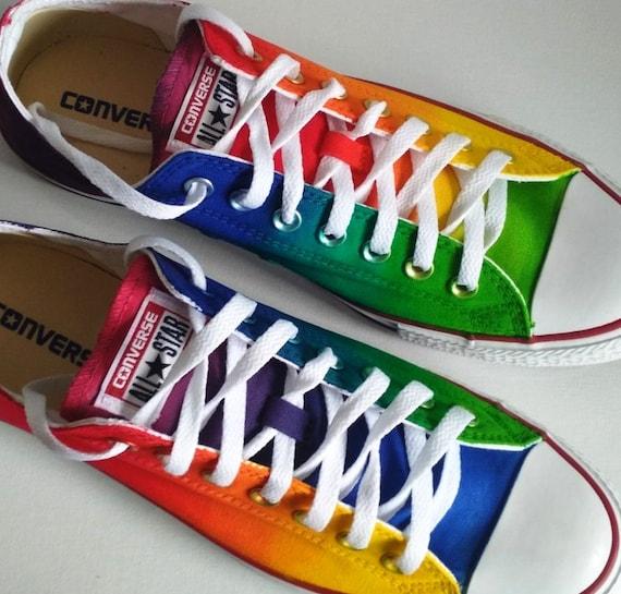 Custom handpainted rainbow shoes, rainbow Converse, rainbow Vans, custom shoes, rainbow sneakers