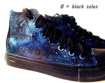 Custom galaxy shoes, handpainted galaxy shoes, personalized shoes, galaxy converse, galaxy vans