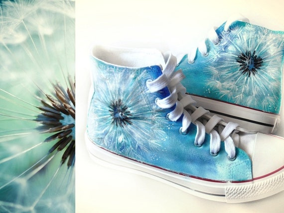 Custom handpainted dandelion shoes flower converse dandelion  36e4558e5c5