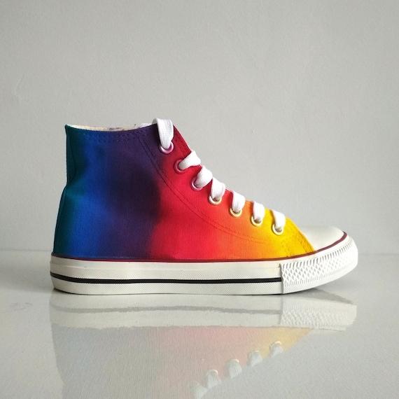 Custom handpainted rainbow shoes rainbow tie dye converse  5ed6896b4dc