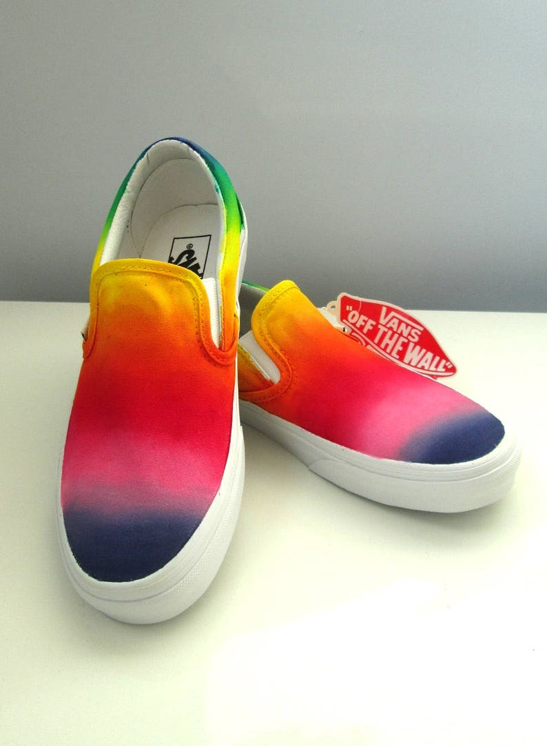 d1b9c13b575 Custom handpainted rainbow VANS Slip On personalized shoes