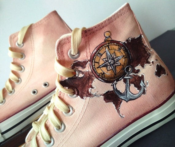 Custom Travel Shoes World map Shoes Compass Shoes Sailor gift Travel lover gift Anchor Sneakers