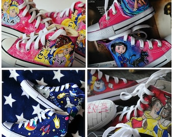 Personalized hand painted shoes for kids, custom sneakers with theme you choose