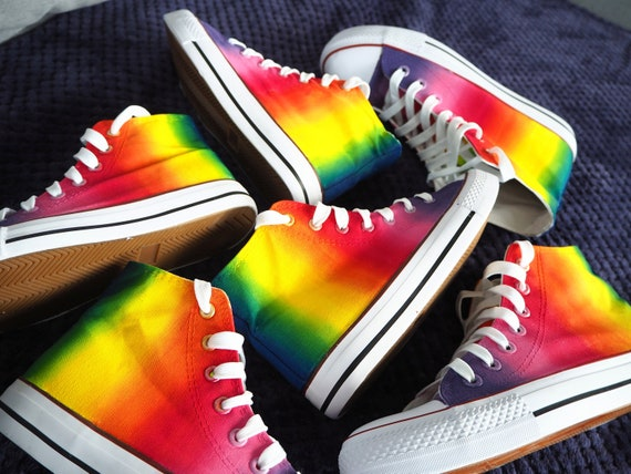 Custom handpainted rainbow shoes, rainbow Converse, Pride Shoes, custom shoes, rainbow sneakers