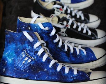 Personalized handpainted Dr Who Tardis shoes, galaxy shoes, custom snekers, galaxy sneakers