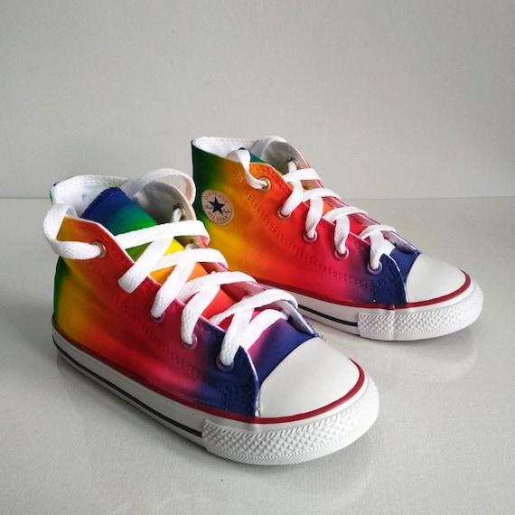 Toddler Custom rainbow shoes, handpainted rainbow shoes, toddler rainbow Converse
