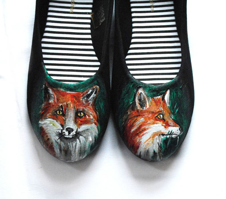 Handpainted fox ballet shoes woodland gift nature lover gift fox shoes