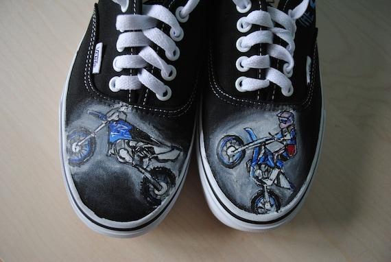 Custom handpainted Cross Motorcycle shoes Dirt Bike shoes  c9e2ebebc55