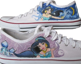 Custom handpainted sneakers, Princess Jasmine, Aladdin Shoes, personalized shoes
