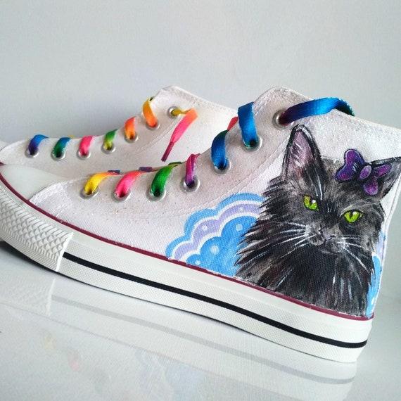 61c3104143d2 Custom cat shoes Glitter shoes Custom cat sneakers rainbow