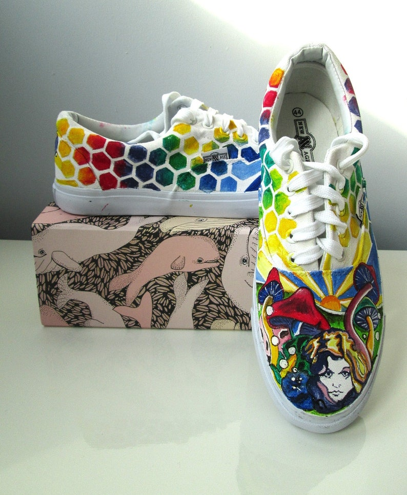 a44f0573177 Custom handpainted psychedelic shoes rainbow vans hippie