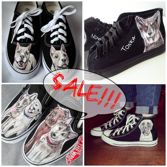 Custom dog portrait handpainted shoes with YOUR DOG custom  ea5afbe9ce3