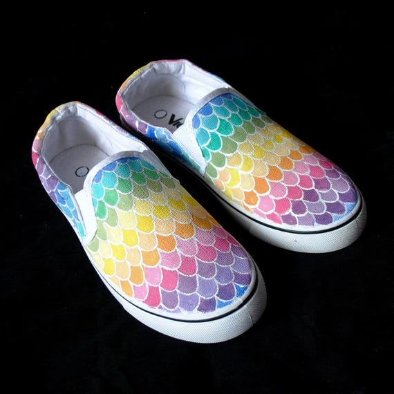 Custom shoes mermaid scales shoes pastel rainbow shoes  386c78f24