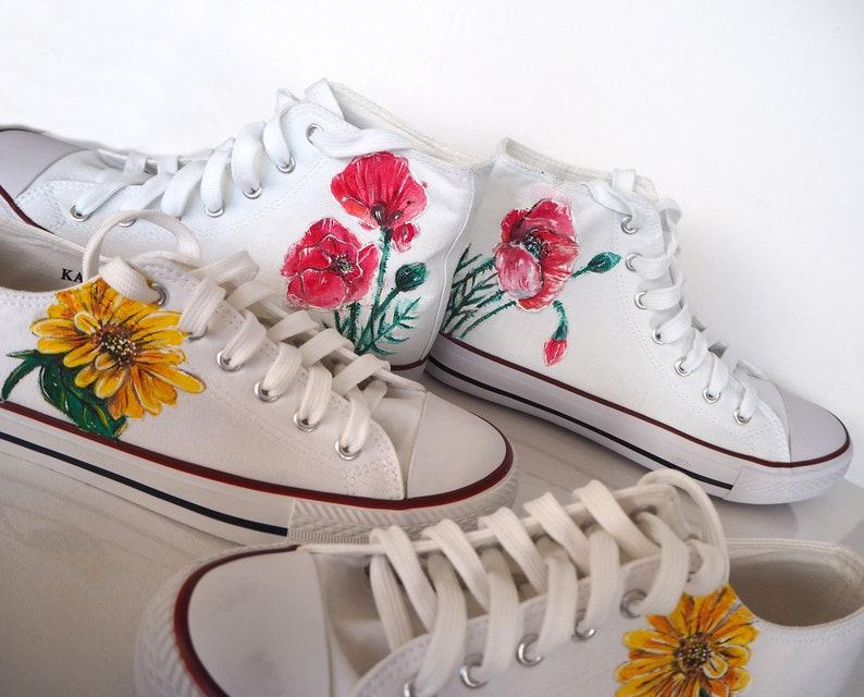 Scarpe personalizzate di girasole contorno di fiori tm5CZCNz
