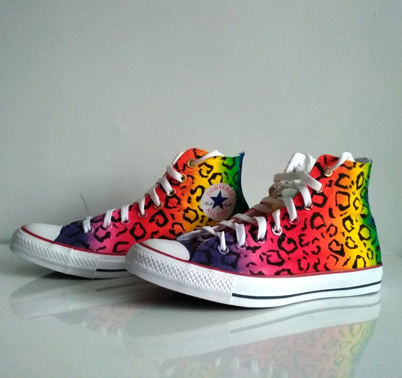 2cf9801e5a Custom rainbow leopard shoes rainbow converse animal print