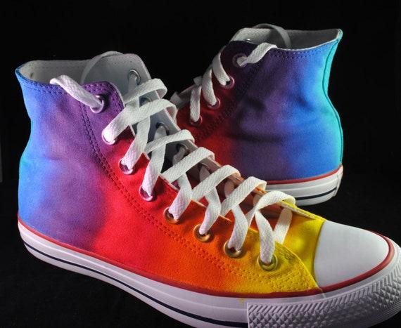Custom handpainted rainbow shoes, rainbow tie dye converse, rainbow vans, rainbow converse