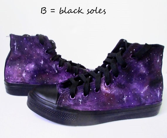 Violet Etsy Peint Personnalisé Converse Galaxie Galaxy Chaussures HOwxqdnf