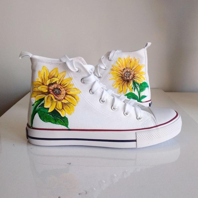 8837a36ff02e8 Custom Sunflower Shoes, handpainted flower converse, Sunflower vans, floral  shoes, Sunflower Converse