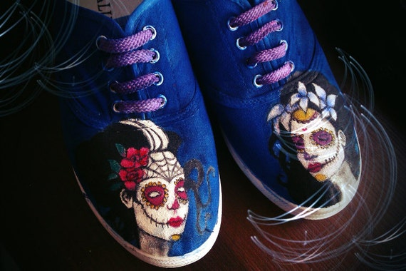 sneakers shoes personalized Muerte Santa Personalized handpainted x6nqPwv