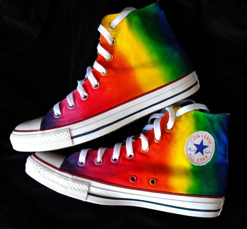 f6b3cfe02ba Custom handpainted rainbow shoes rainbow Converse rainbow