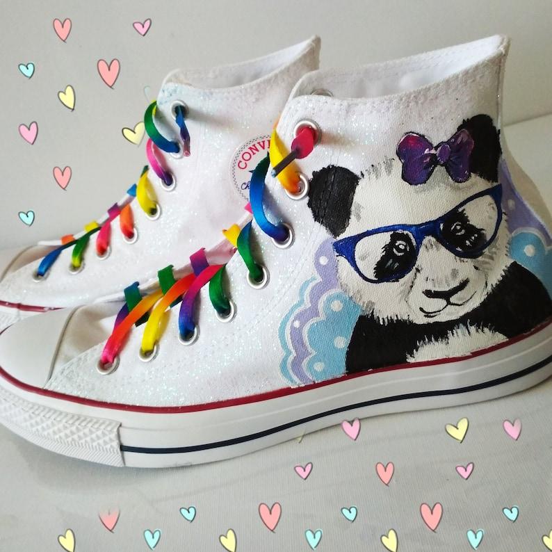 5c66f5968a6a Panda shoes Glitter shoes Custom panda sneakers rainbow
