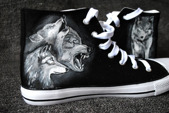 Personalized handpainted Wolf shoes, Wolves Shoes, custom wolf shoes, spirit animal shoes, woodland shoes
