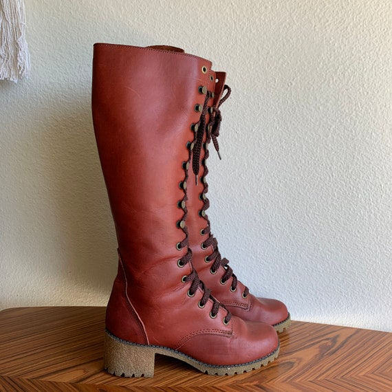 Vintage 70s Lace Up Leather Kinney Boots