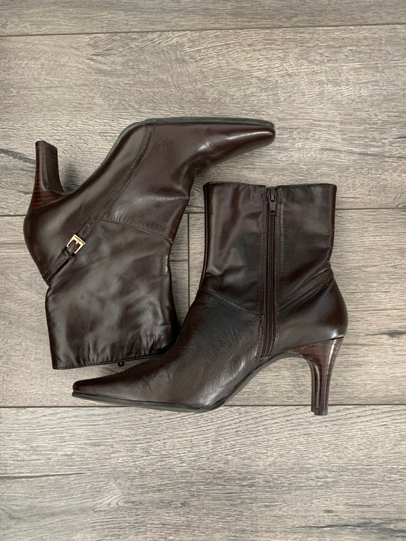 Vintage 90s Y2K  Square Toe Leather Boots