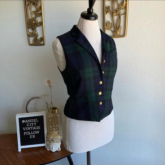 Vintage Ralph Lauren Plaid Green Velvet Vest