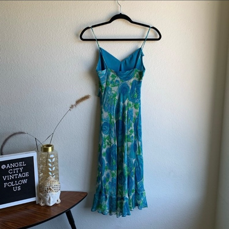 Vintage Mica Blue Floral Ruffle 90s Girly Dress