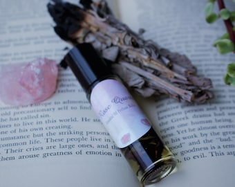 Rose Quartz Crystal Infused Essential Oil Roller Ball Perfume